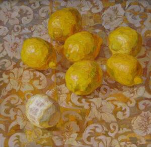 Пономарева М.Л. Лимоны на золотом. Холст, масло. 50х50 см.