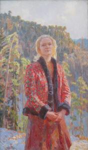 Пономарева М.Л. Сибирячка. 2008 г. Холст, масло. 146х88 см.