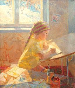 Пономарева М.Л. Женя рисует. 2003 г. Холст, масло. 93х80 см.