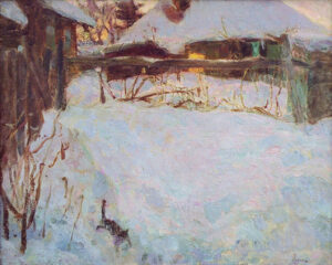 Пономарева М.Л. Зимний вечер. 1999 г. Холст, масло. 40x55 см.